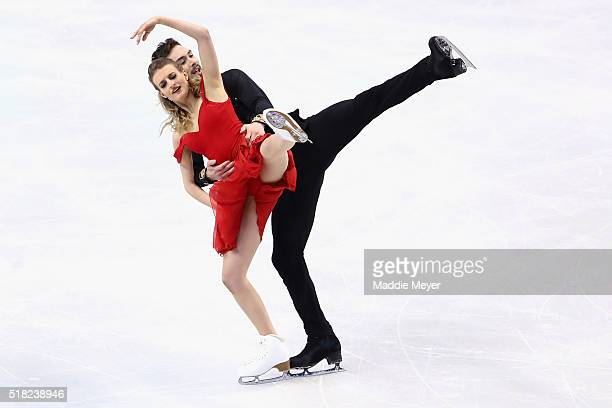 Gabriella Papadakis and Guillaume Cizeron of France skate in the Ice Dance Short program during day 3 of the ISU World Figure Skating Championships...