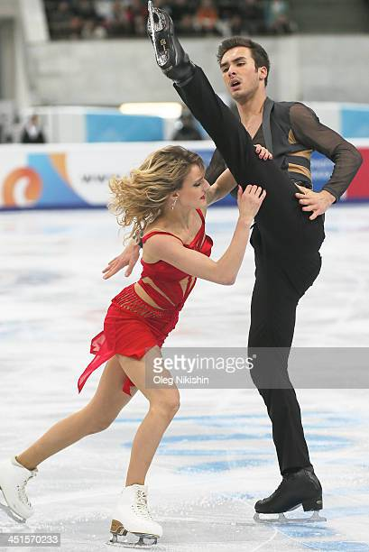 Gabriella Papadakis and Guillaume Cizeron of France skates in the Ice Dance Free Dance during ISU Rostelecom Cup of Figure Skating 2013 on November...