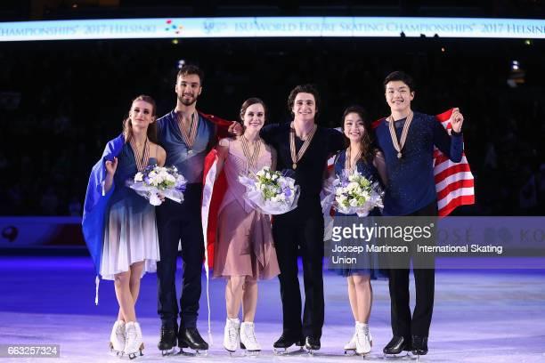 Gabriella Papadakis and Guillaume Cizeron of France Tessa Virtue and Scott Moir of Canada Maia Shibutani and Alex Shibutani of the United States pose...