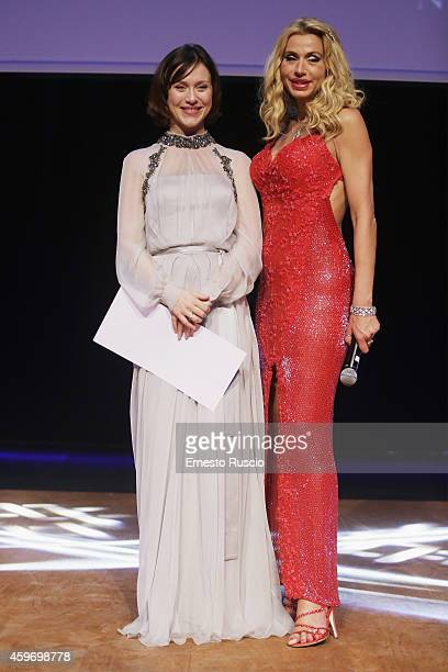 Gabriella Pession and Valeria Marini pose during the Children for Peace Benifit Gala at Spazio Novecento on November 28 2014 in Rome Italy