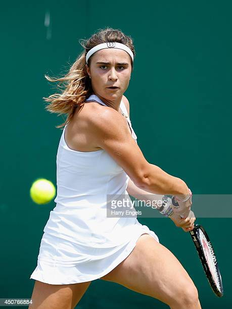 Gabriella Taylor of Great Britain in action during her first round qualifying match against Sofia Arvidsson of Sweden on day two of the Wimbledon...
