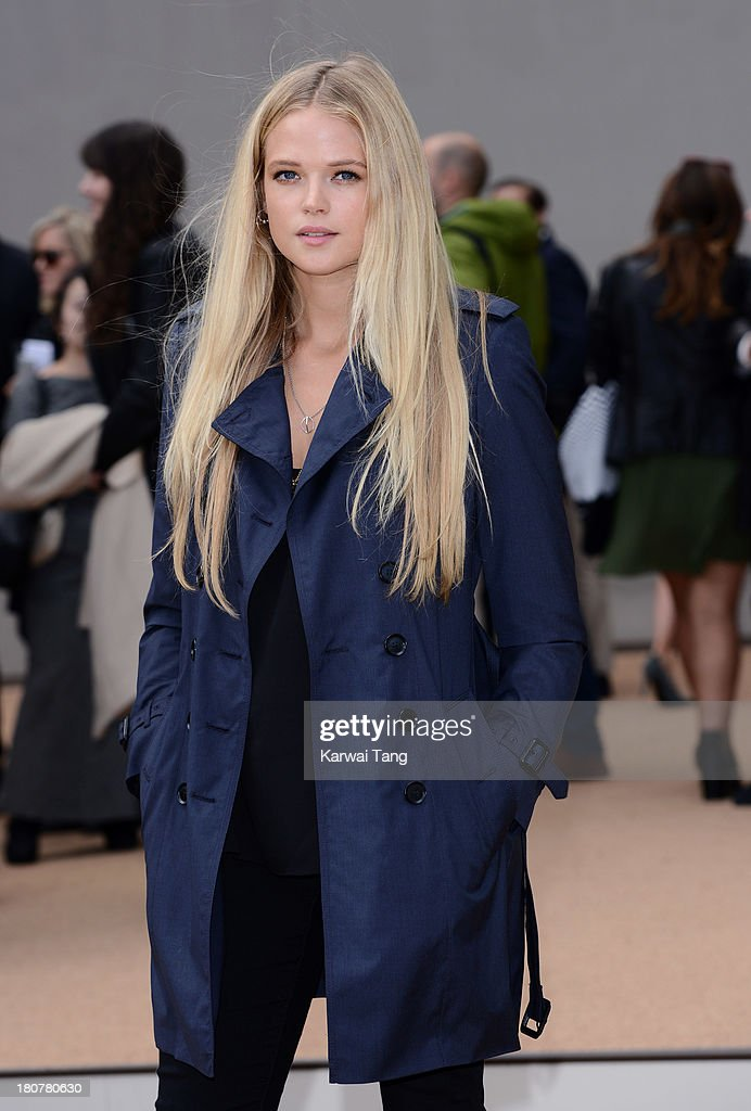 Gabriella Wilde attends the Burberry Prorsum show during London Fashion Week SS14 at Kensington Gardens on September 16, 2013 in London, England.