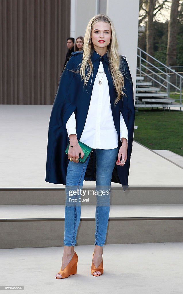 Gabriella Wilde is pictured arriving at Burberry Prorsum during London Fashion Week on February 18, 2013 in London, England.