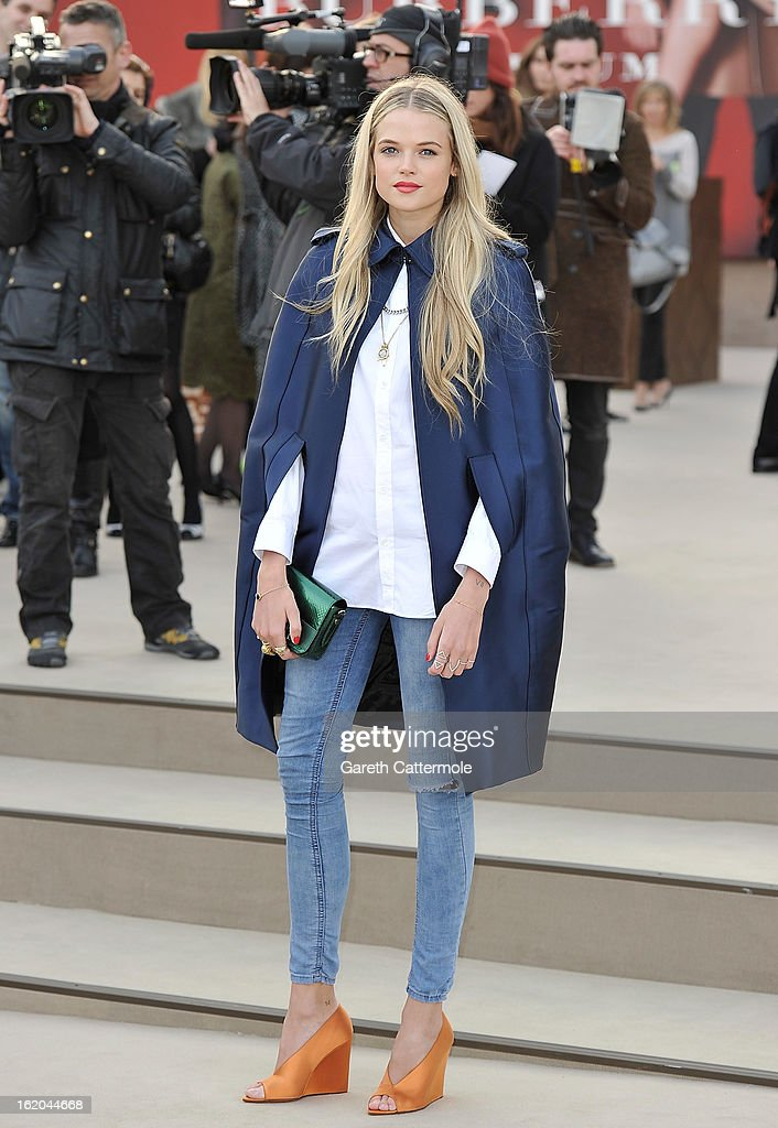 Gabriella Wilde wearing Burberry, arrives at the Burberry Prorsum Autumn Winter 2013 Womenswear Show on February 18, 2013 in London, England.