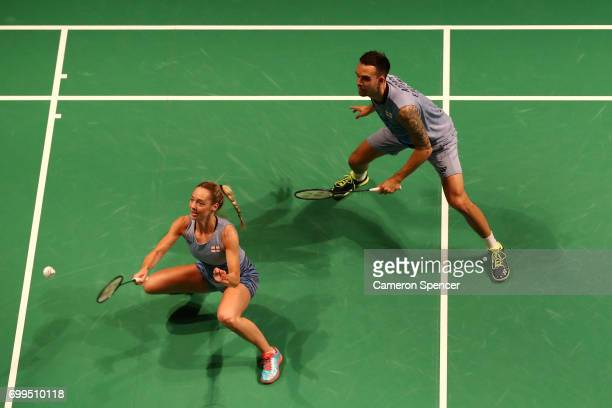 Gabrielle Adcock and Chris Adcock of England compete during their R16 match against Choi Solgyu and Chae Yoo Jung of Korea during the Australian...