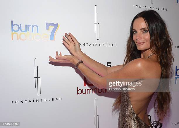 Gabrielle Anwar arrives at wrap party for 'Burn Notice' at Fontainebleau Miami Beach on July 27 2013 in Miami Beach Florida