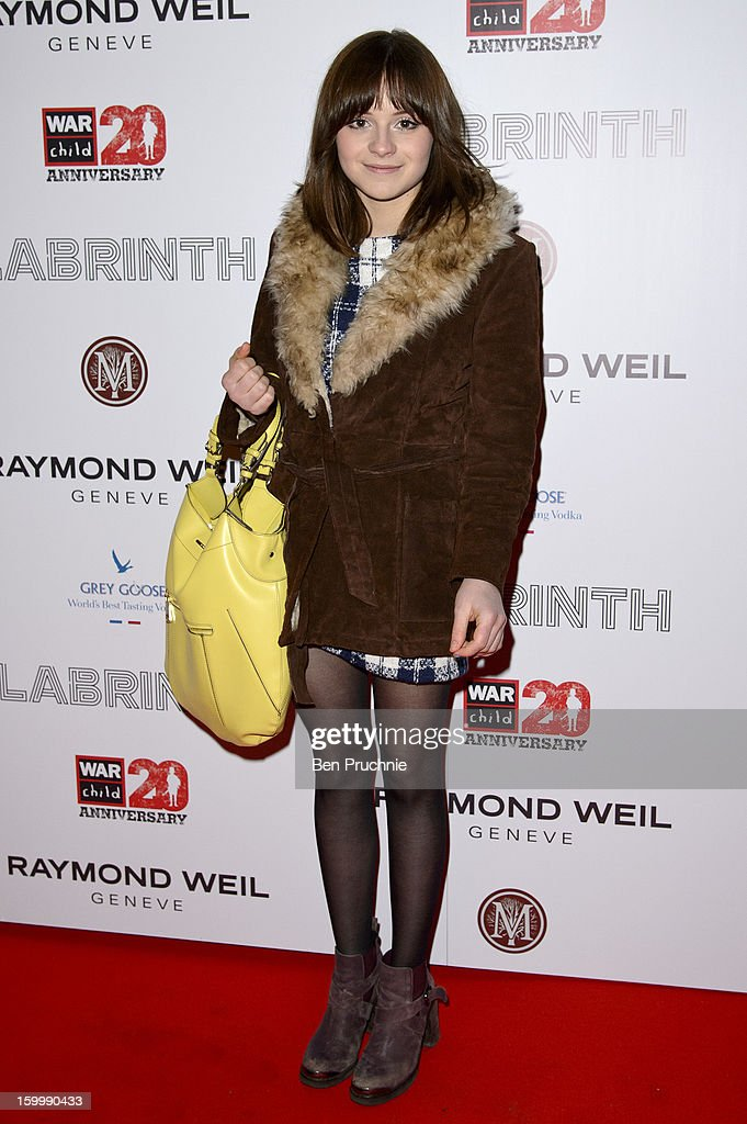Gabrielle Aplin attends the Raymond Weil pre-Brit Awards dinner and 20th anniversary celebration of War Child at The Mosaica on January 24, 2013 in London, England.