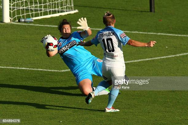 Gabrielle Dal Busco of the Perth Glory saves a shot on goal by Jessica Fishlock of Melbourne City during the 2017 WLeague Grand Final match between...