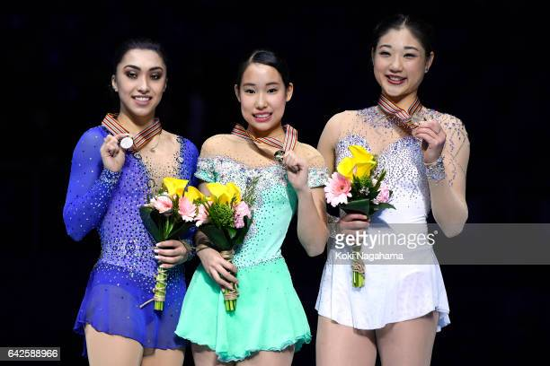 Gabrielle Daleman of Canada and Mai Mihara of Japan and Mirai Nagasu United States pose on the podium during the medals ceremony of the Ladies...