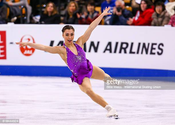 Gabrielle Daleman of Canada competes during Day 4 of the ISU World Figure Skating Championships 2016 at TD Garden on March 31 2016 in Boston...