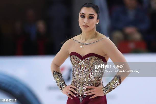Gabrielle Daleman of Canada reacts after her performance in the Ladies Free Dance program on Day 3 of the ISU Grand Prix of Figure Skating at Herb...