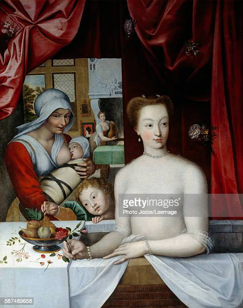 Gabrielle d'Estrees Marquise de Monceaux in her bath Near her a woman nursing her children Painting of the French School 16th or 17th century 11 x...