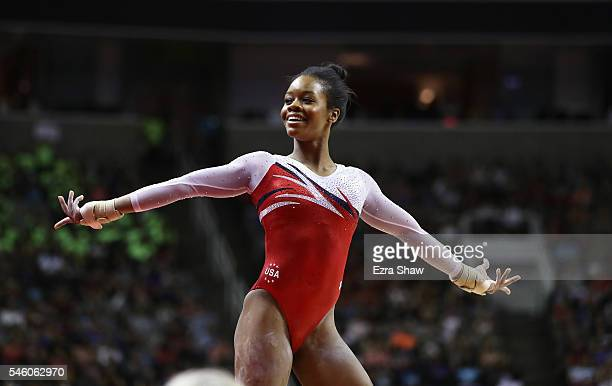 Gabrielle Douglas competes in the floor exercise during Day 2 of the 2016 US Women's Gymnastics Olympic Trials at SAP Center on July 10 2016 in San...