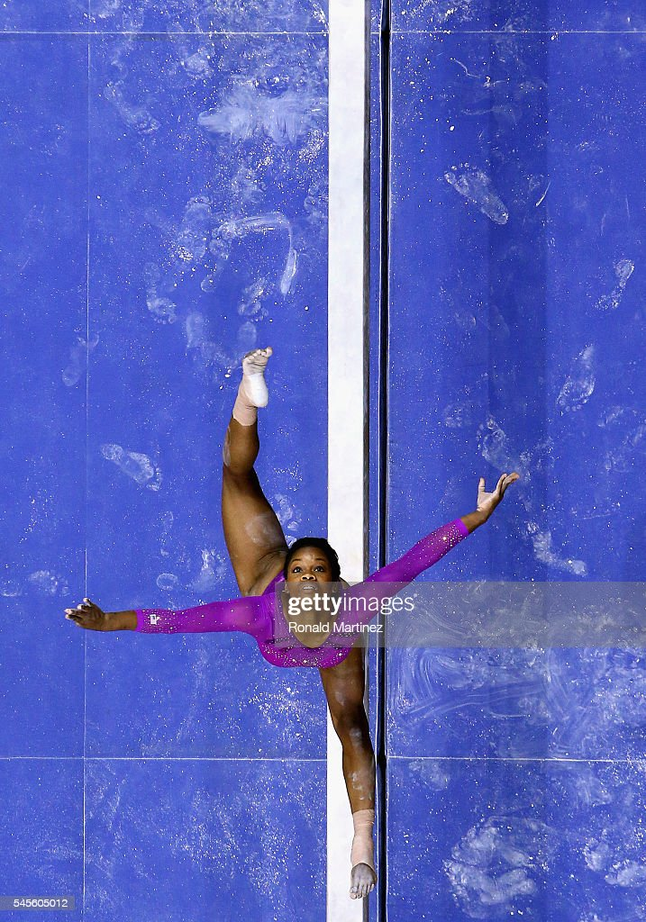 Gabrielle Douglas competes on the balance beam during day 1 of the 2016 U.S. Olympic Women's Gymnastics Team Trials at SAP Center on July 8, 2016 in San Jose, California.