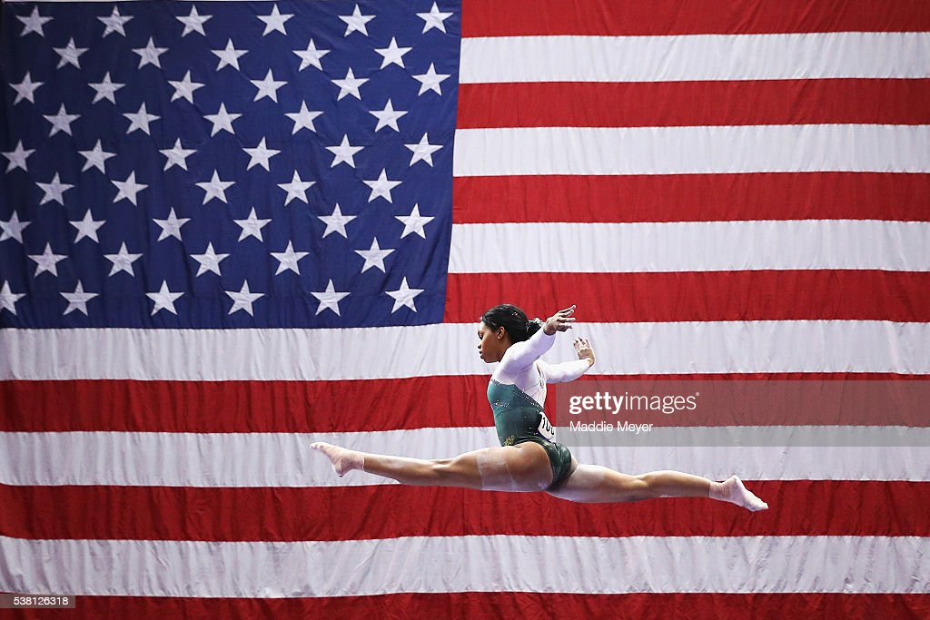 Gabrielle Douglas competes on the balance beam during the Sr. Women's 2016 Secret U.S. Classic at the XL Center on June 4, 2016 in Hartford, Connecticut.