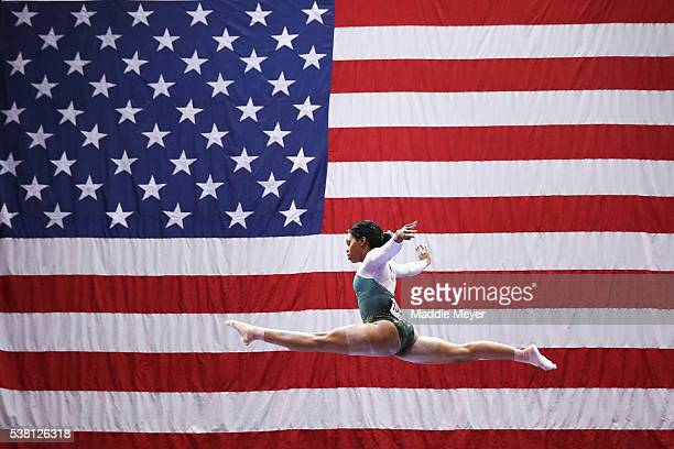 Gabrielle Douglas competes on the balance beam during the Sr Women's 2016 Secret US Classic at the XL Center on June 4 2016 in Hartford Connecticut