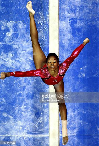 Gabrielle Douglas competes on the beam during day 2 of the 2012 US Olympic Gymnastics Team Trials at HP Pavilion on June 28 2012 in San Jose...