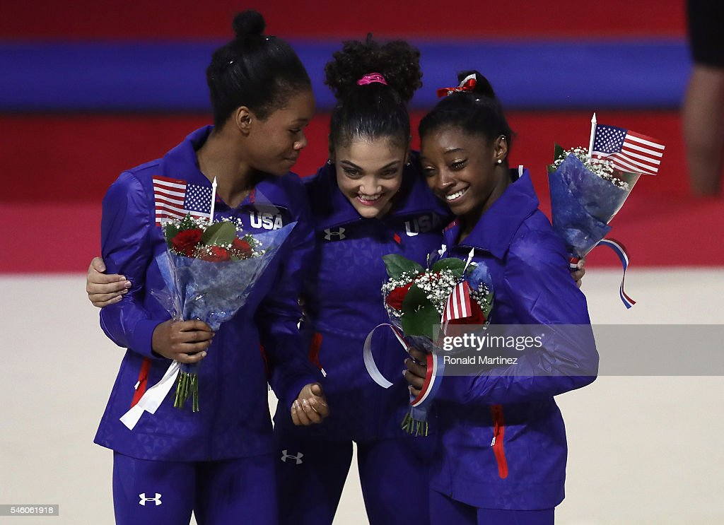 Gabrielle Douglas, Lauren Hernandez and Simone Biles hug after being named to represent the USA at the 2016 Olympics in Rio during day 2 of the 2016 U.S. Olympic Women's Gymnastics Team Trials at SAP Center on July 10, 2016 in San Jose, California.