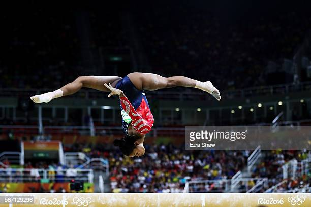 Gabrielle Douglas of the United States competes on the balance beam during Women's qualification for Artistic Gymnastics on Day 2 of the Rio 2016...