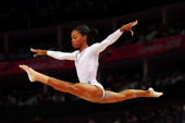 Gabrielle Douglas of the United States competes on the beam during the Artistic Gymnastics Women's Beam final on Day 11 of the London 2012 Olympic...