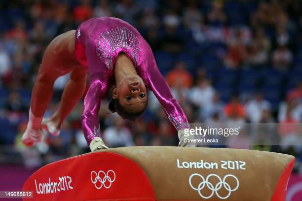 Gabrielle Douglas of the United States of America competes on the vault in the Artistic Gymnastics Women's Individual AllAround final on Day 6 of the...