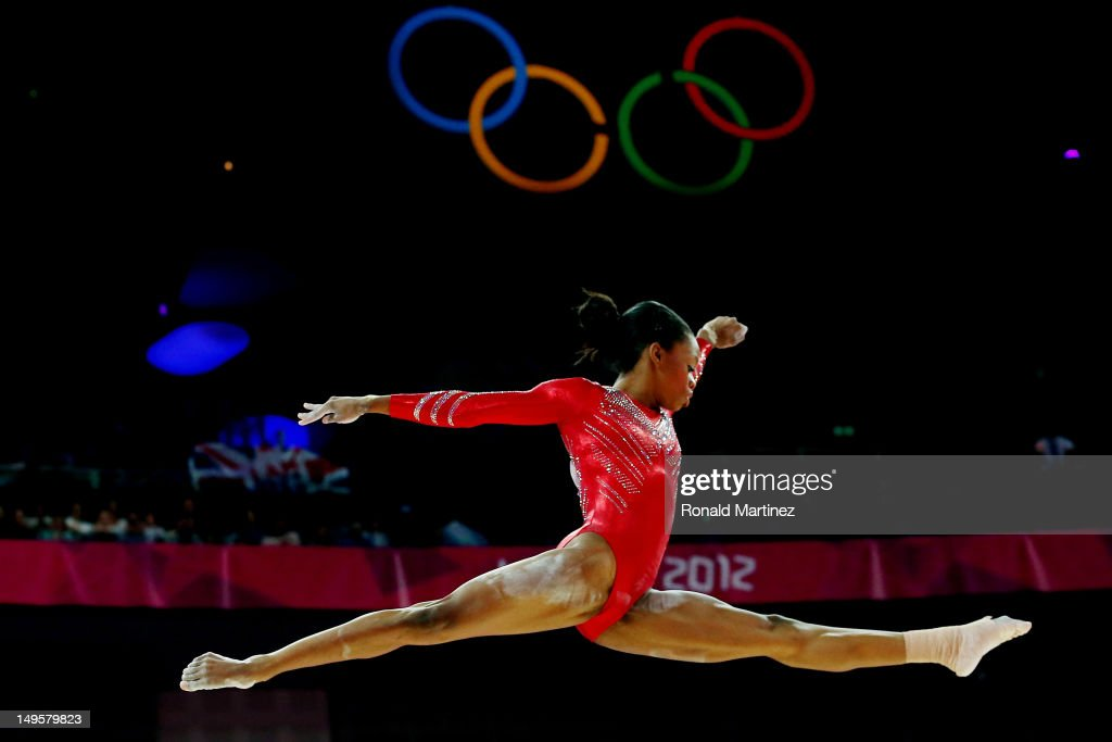 Gabrielle Douglas of the United States of America competes on the balance beam in the Artistic Gymnastics Women's Team final on Day 4 of the London 2012 Olympic Games at North Greenwich Arena on July 31, 2012 in London, England.