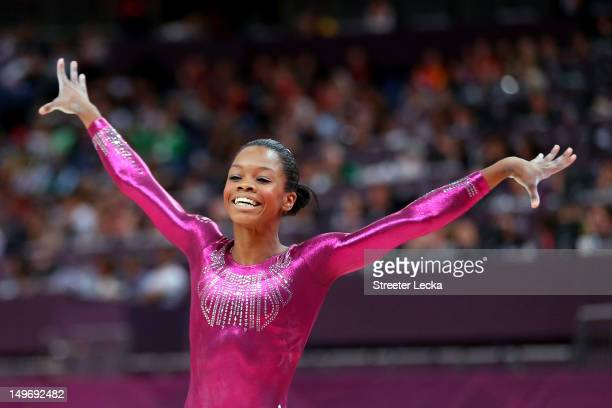 Gabrielle Douglas of the United States reacts after he competes on the balance beam in the Artistic Gymnastics Women's Individual AllAround final on...