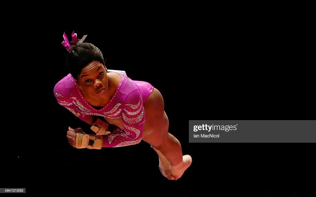 Gabrielle Douglas of United States competes on the Vault during day Two of the 2015 World Artistic Gymnastics Championships at The SSE Hydro on October 24, 2015 in Glasgow, Scotland.