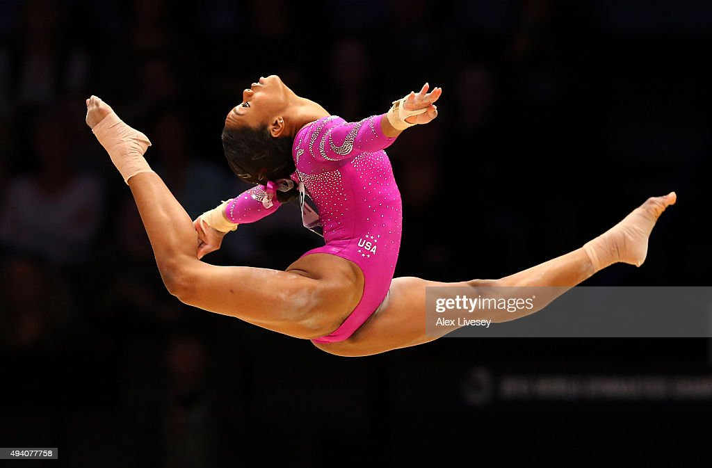Gabrielle Douglas of USA competes on the Floor during Day Two of the 2015 World Artistic Gymnastics Championships at The SSE Hydro on October 24, 2015 in Glasgow, Scotland.