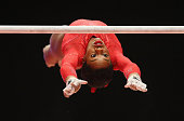 Gabrielle Douglas of USA competes on the Uneven Bars during the AllAround Final on day seven of the 2015 World Artistic Gymnastics Championships at...