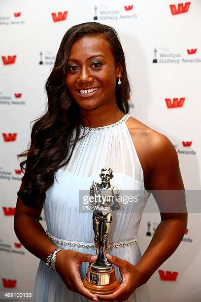 Gabrielle Fa'amausili poses with the Westpac Emerging Talent Award during the Westpac Halberg Awards at Vector Arena on February 13 2014 in Auckland...