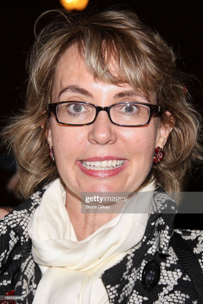 Gabrielle Giffords poses backstage at the hit revival of 'Annie' on Broadway at The Palace Theater on November 2, 2012 in New York City.