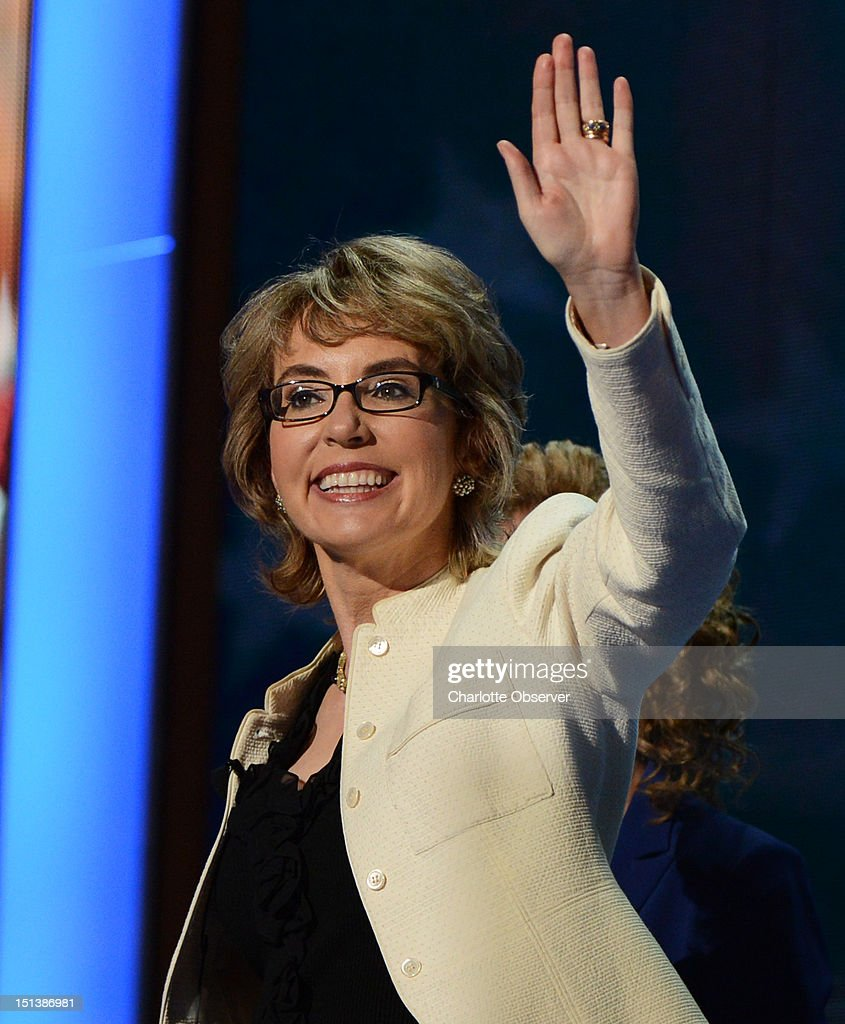 Gabrielle Giffords waves to the delegates at the 2012 Democratic National Convention in Times Warner Cable Arena Thursday, September 6, 2012 in Charlotte, North Carolina.