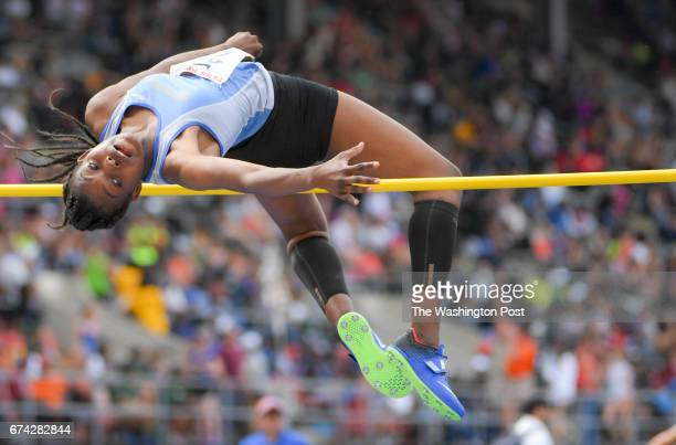 Gabrielle Hayes of Osbourn Park competes in the high jump during the 123rd running of the Penn Relays in Philadelphia PA on April 27 2017