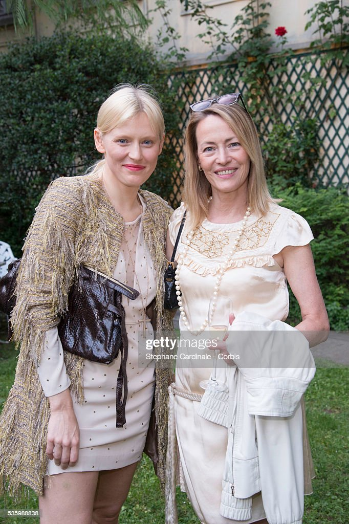 Gabrielle Lazure (L) and Anna Sherbinina attend to the 'Untold' new perfume launch at Mona Bismarck's House, in Paris.