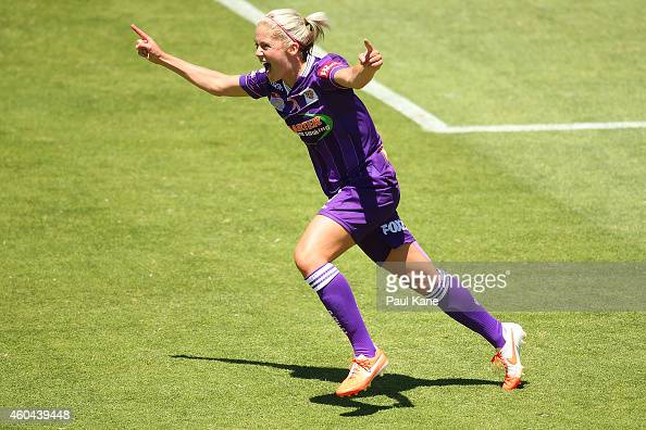 Gabrielle Marzano of the Glory celebrates after scoring a goal during the WLeague semi final match between Perth Glory and Sydney FC at nib Stadium...