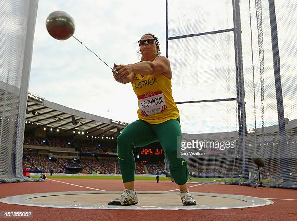Gabrielle Neighbour of Australia competes in the Women's Hammer final at Hampden Park during day five of the Glasgow 2014 Commonwealth Games on July...