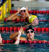 Gabrielle Rose celebrates after winning the Women's 100 SC Meter IM in the Saturday Finals during the 2004 FINA Swimming World Cup in East Meadow New...