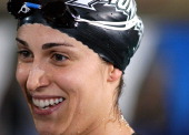 Gabrielle Rose is all smiles after winning the Women's 100 SC Meter IM in the Saturday Finals during the 2004 FINA Swimming World Cup in East Meadow...
