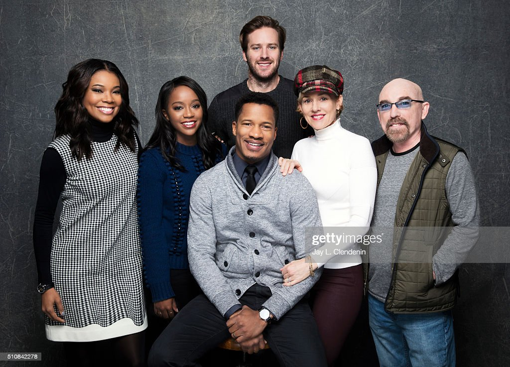 Gabrielle Union, Aja Naomi King, Jackie Earle Haley, Armie Hammer, Penelope Ann Miller, and Nate Parker of 'The Birth of a Nation' pose for a portrait at the 2016 Sundance Film Festival on January 25, 2016 in Park City, Utah.
