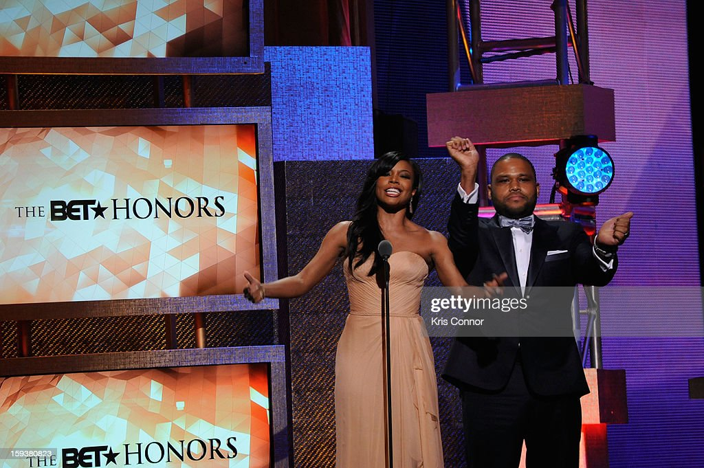Gabrielle Union and Anthony Anderson onstage at BET Honors 2013 at Warner Theatre on January 12, 2013 in Washington, DC.