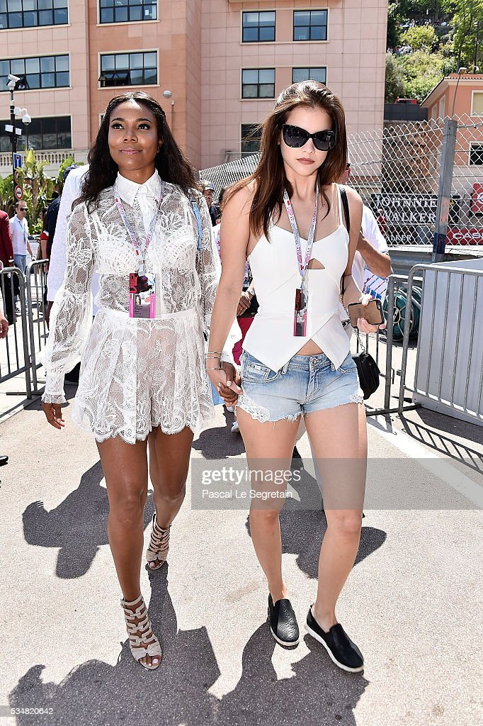 <a gi-track='captionPersonalityLinkClicked' href=/galleries/search?phrase=Gabrielle+Union&family=editorial&specificpeople=202066 ng-click='$event.stopPropagation()'>Gabrielle Union</a> and <a gi-track='captionPersonalityLinkClicked' href=/galleries/search?phrase=Barbara+Palvin&family=editorial&specificpeople=7190694 ng-click='$event.stopPropagation()'>Barbara Palvin</a> attend the Practice session of the F1 Grand Prix of Monaco on May 28, 2016 in Monte-Carlo, Monaco.