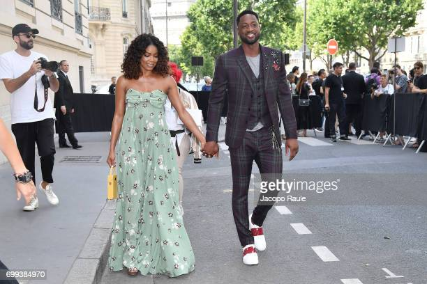 Gabrielle Union and Dwayne Wade are seen arriving at Valentino fashion show during Paris Fashion Week Menswear Spring/Summer 2018 on June 21 2017 in...