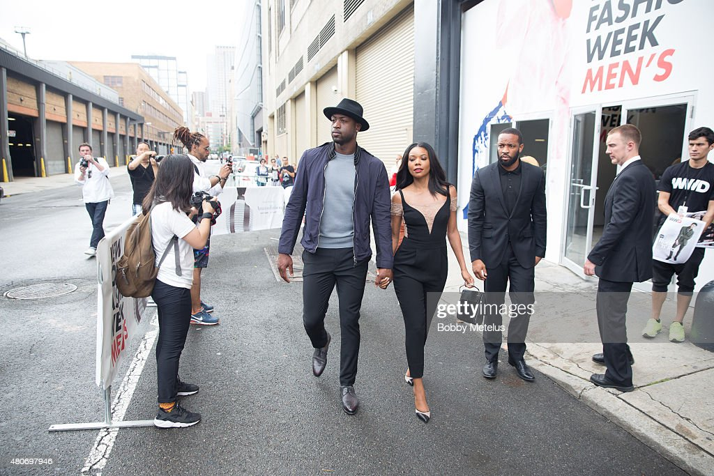 Gabrielle Union and Dwyane Wade are seen during New York Fashion Week Men's on July 14 2015 in New York New York
