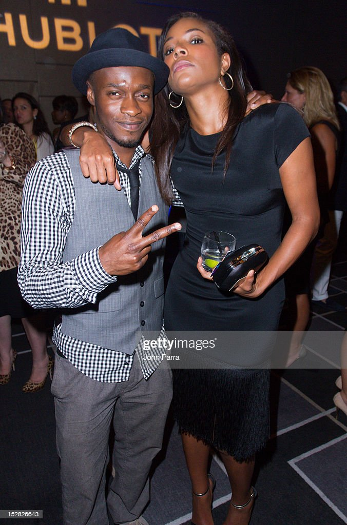 <a gi-track='captionPersonalityLinkClicked' href=/galleries/search?phrase=Gabrielle+Union&family=editorial&specificpeople=202066 ng-click='$event.stopPropagation()'>Gabrielle Union</a> (R) and guest attend Hublot Introduces The King Power '305' Timepiece at W South Beach Hotel & Residences on September 26, 2012 in Miami Beach, Florida.