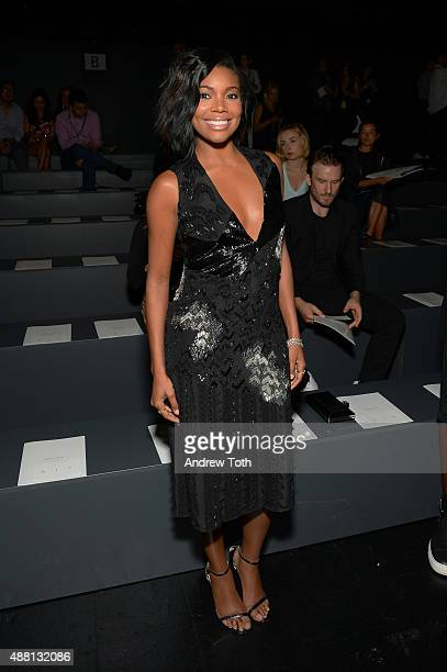 Gabrielle Union attends the Prabal Gurung show during Spring 2016 New York Fashion Week The Shows at The Arc Skylight at Moynihan Station on...