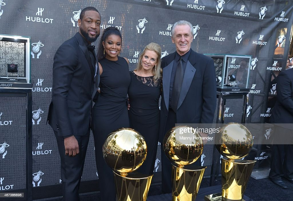 Gabrielle Union, Dwyane Wade, Chris Riley and Pat Riley attends Miami Heat Black Tie On Ocean Drive Gala at Betsy Hotel Rooftop on March 14, 2015 in Miami Beach, Florida.