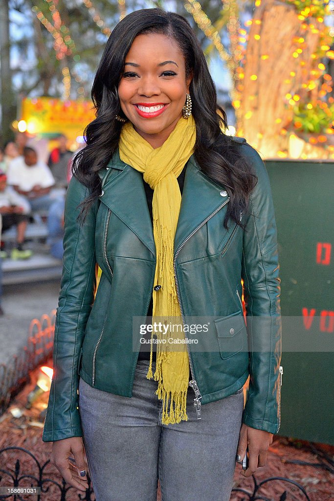 <a gi-track='captionPersonalityLinkClicked' href=/galleries/search?phrase=Gabrielle+Union&family=editorial&specificpeople=202066 ng-click='$event.stopPropagation()'>Gabrielle Union</a> make an appearance on behalf of Wade's World Foundation at Santa's Enchanted Forest on December 23, 2012 in Miami, Florida.