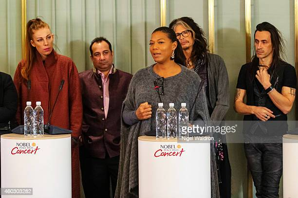 Gabrielle Ustad Rahat Fateh Ali Khan Steven Tyler and Queen Latifah speaks during at the Nobel Peace Prize Concert press conference at the Norwegian...