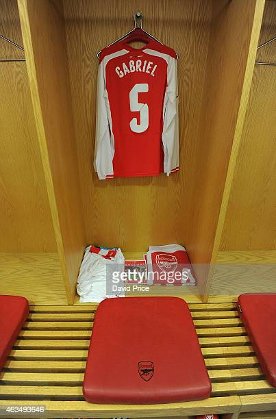 Gabriel's kit hangs in the changing room before the match between Arsenal and Middlesbrough in the FA Cup 5th Round at Emirates Stadium on February...